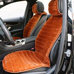 Image 1 - 2 個冬豪華な車のシートカバー高級人工ウサギの毛皮の車のシートクッションcloac暖かい美しい