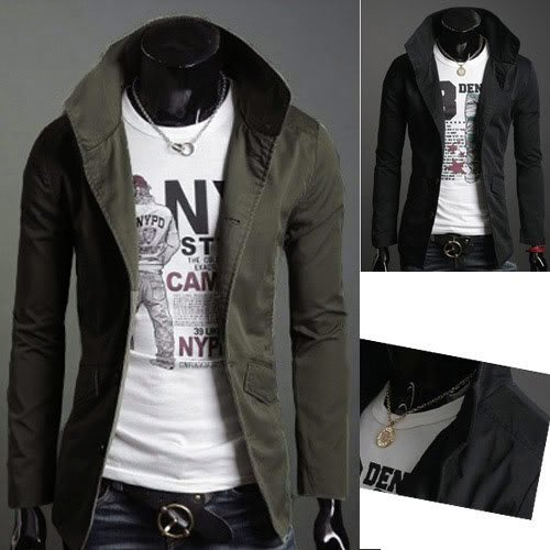 New Slim Sexy Top Designed Mens Jacket Coat Colour:Black,Army green US Size:XS,S,M,L 1014