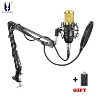 Ituf Original Condenser Microphone BM 800SF Audio Studio Vocal Recording Mic Karaoke + Microphone Hold Stand + POP Filter bm 800