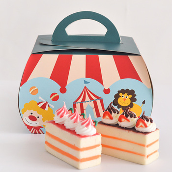 13.5*9.5*10cm Circus Troupe Carnival Decoration Paper Cupcake Box Cake Boxes With Handle 100pcs/lot Free shipping