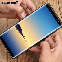 Wangcangli Business top layer cowhide custom mobile phone full case for Samsung note8 triangle mobile phone all inclusive