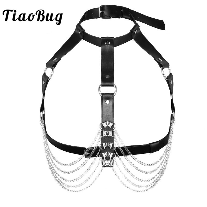 TiaoBug Women Black Punk Faux Leather Body Chest Harness Adjustable Straps Hot Sexy Bondage Belts Festival Rave Gothic Suspender