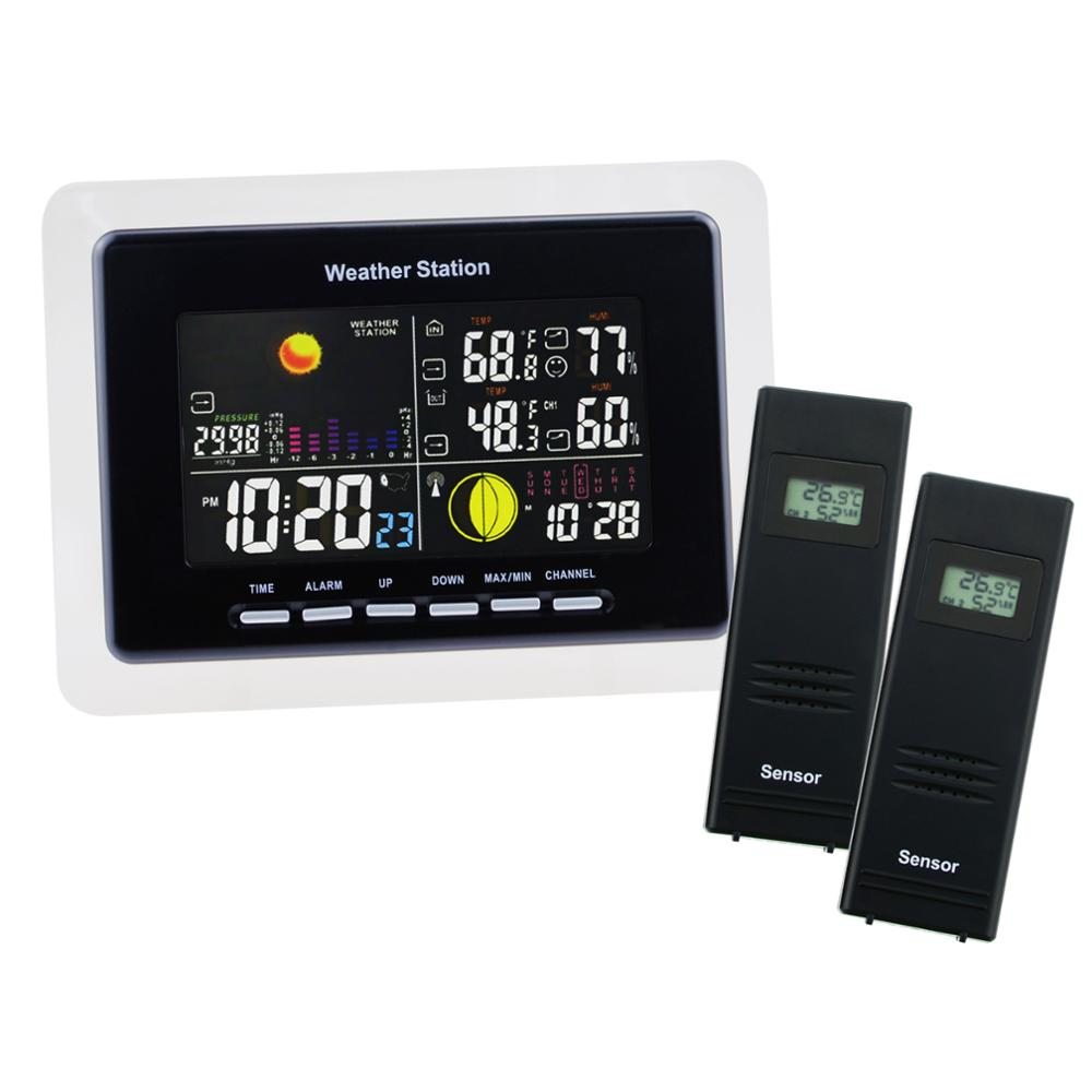 Wireless Weather Station 2 Remote Sensors Weather Forecast DCF / WWVB RCC Moonphase Alarm Indoor Outdoor Temperature Humidity wireless sensor weather station rcc receiver 8 function keys 5 state weather forecast temperature humidity indicator