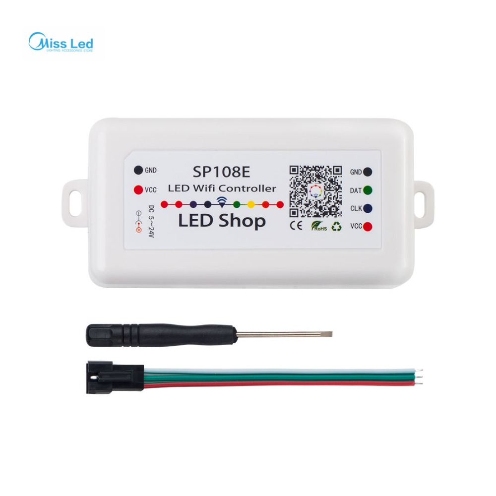 цена Wholesale DC5-24V SP108E LED Wifi Magic Controller WS2811B WS2813 LED Strip Module Light Smart APP Wireless Control 2048 Leds