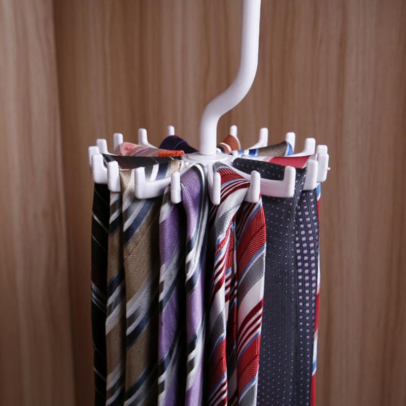 Rotating Tie Holder Hook Clothes Hanger White Plastic Tie Rack Scarf Hanger Belts Hanger 1pcs Holds 20 Ties Home Supplies