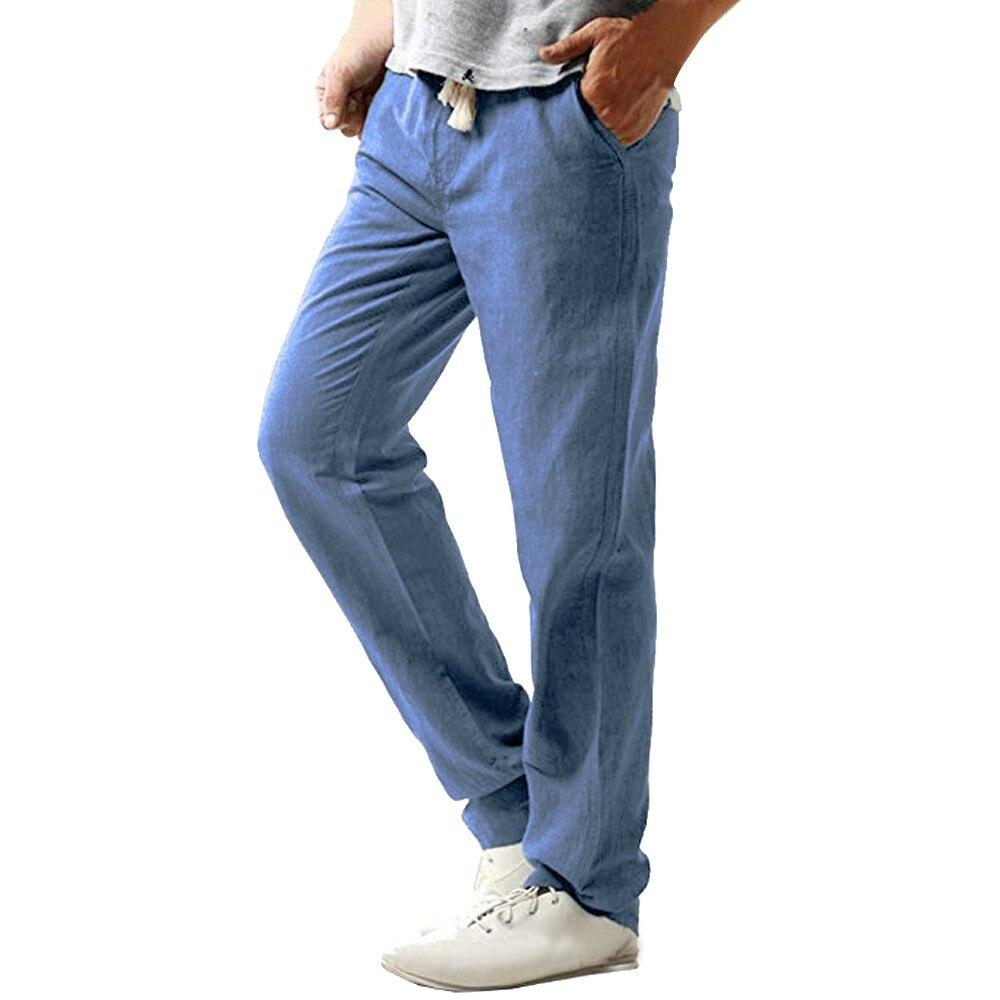Mens Casual Slim Strand hosen Linen Hose Pant Solid Shorts