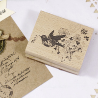 High Quality Big Flowers And Birds Diy Postcard Or Bookmark Scrapbooking Stamp Beatiful Wooden Rubber Stamps