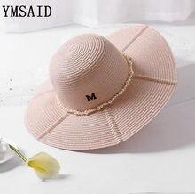 Ymsaid Venta caliente verano ala ancha Sombreros mujeres M carta perla  decoración seaeside sombrero de playa a72b26bee57
