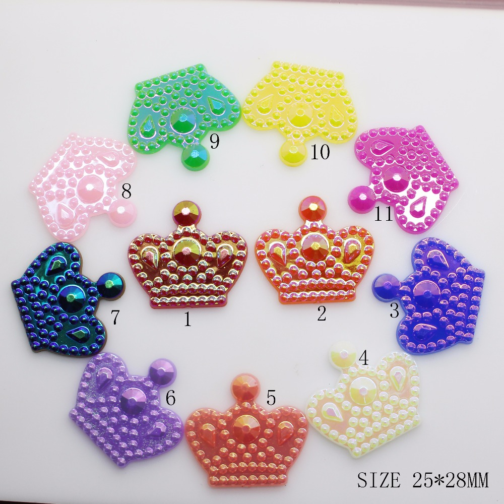 10Pcs/Lot 28*25mm Multicolour Acryl Crown Button Children Hat DIY Craft Appliques Sewing Craft Buttons Hair Bow Accessories