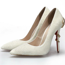 Pointed Toe Ivory Pearl Wedding Shoes Snake Metal Design Women Pumps 4 Inches Stiletto Heel Bridal Shoes Prom Party High Heels