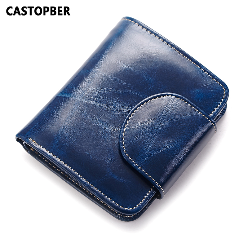 Fashion Retro Vintage Cowhide Genuine Leather Oil Wax Leather Wallet Multinational Card Holders Coin Purse Women Short Wallets