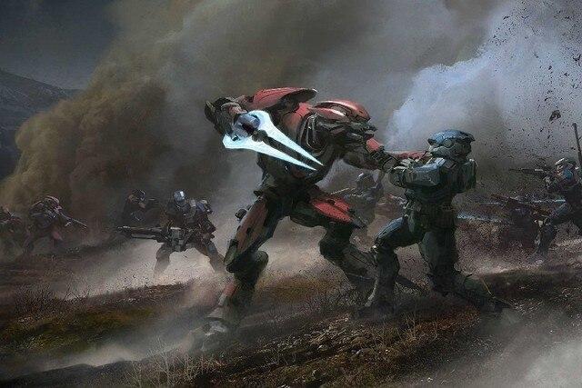 Halo reach elite vs espartano cartel seda tela impresión pared ...