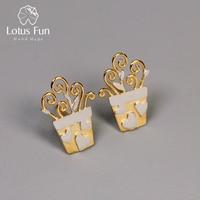 Lotus Fun Real 925 Sterling Silver Handmade Designer Fine Jewelry Lovely Romantic Flower Pot Design Stud