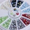 1 Caixa Colorida Decoração de Unhas 3D 2mm/3mm/4mm Semi-círculo de Pérolas Talão de Manicure Nail Art Decoração