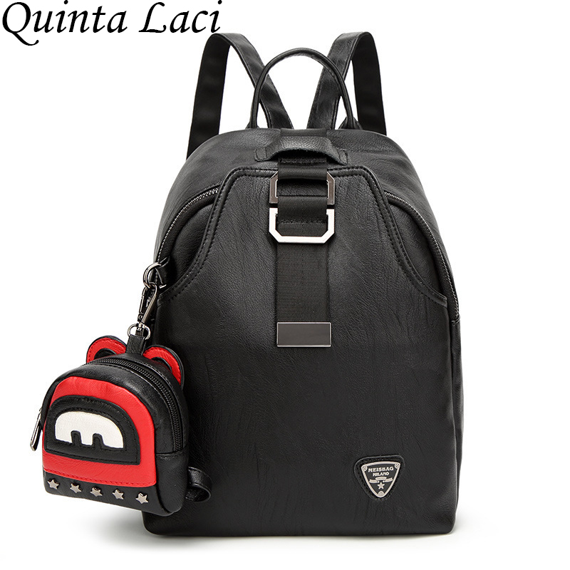 Quinta Laci Women Backpack 2017 Female Fashion Leather Backpack Leisure Travel Bag All match Tide Wind