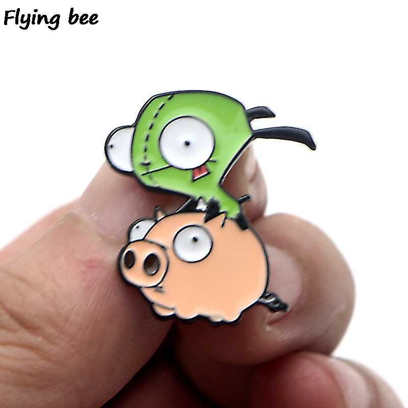 Flyingbee Alien Creativo Tema Dello Smalto Spille per I Vestiti Borse Zaino Distintivo Divertente Carino Spilla Camicia Risvolto Spilli X0228