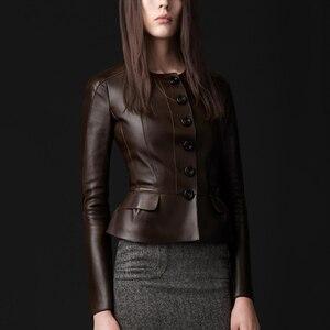 Женская кожаная куртка, черная облегающая куртка из натуральной овчины на кнопках