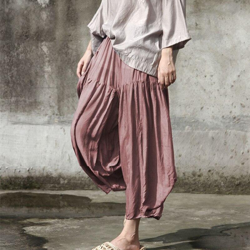 rosado Falda Elástica Mujeres Cintura Irregular Nuevos Tobillo Sólido 2019 Sueltos De Color Primavera Harem Longitud Johnature Pantalones Vintage Azul w6UtHqH