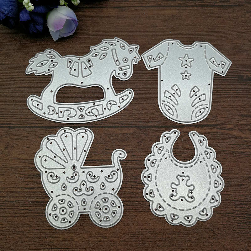 4pcs Baby Suit Carriage Rocking <font><b>Horse</b></font> Cutting Dies Stencils DIY Scrapbooking Card Paper Craft <font><b>Metal</b></font> Decoration Embossing Folder image