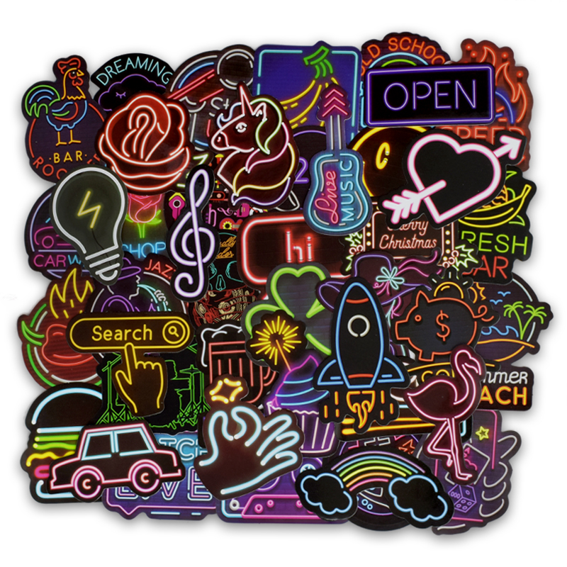 50 PCS Neon Light Sticker Gifts Toys For Children Anime Animal Cute Decal Stickers To Laptop Phone Suitcase Guitar Fridge Car F5