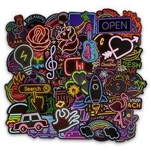 50 pçs luz de néon adesivo presentes brinquedos para crianças anime animal bonito decalque adesivos para computador portátil mala guitarra geladeira carro f5