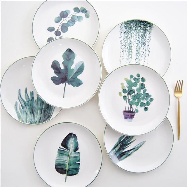 Home Restaurant Japanese-style plant ceramic tableware household 8-inch plate dish Western steak & Home Restaurant Japanese style plant ceramic tableware household 8 ...