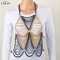 CHRAN Summer Style Classic Gold Mutilayer Chain Waist Jewelry Wholesale Lovely Women Bikini Necklace Charm Sexy Full Body Chain