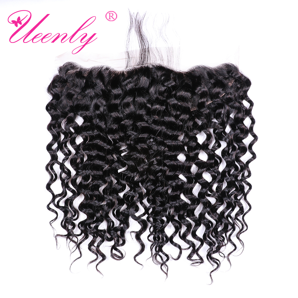 UEENLY Lace-Frontal-Closure Human-Hair Water-Wave Peruvian Free/middle/three-part To