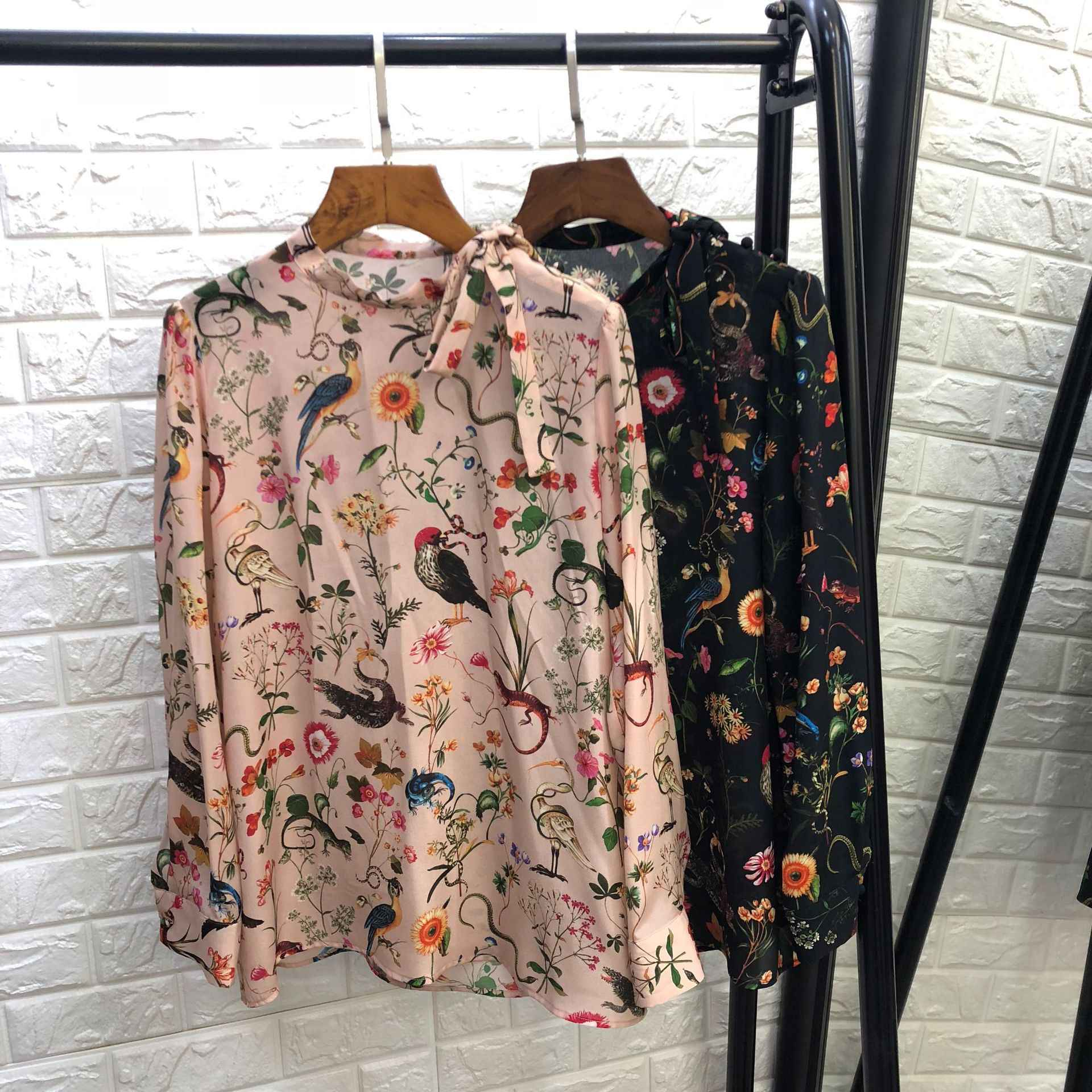 21670132e3fc1 Detail Feedback Questions about Women high end runway brand silk blouse bow  tie cute buttons animal floral print tops new 2018 autumn pink black on ...