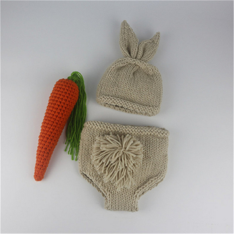 Newborn Photography Props Cute Rabbit Ears Baby Crochet Set Infant Clothes image