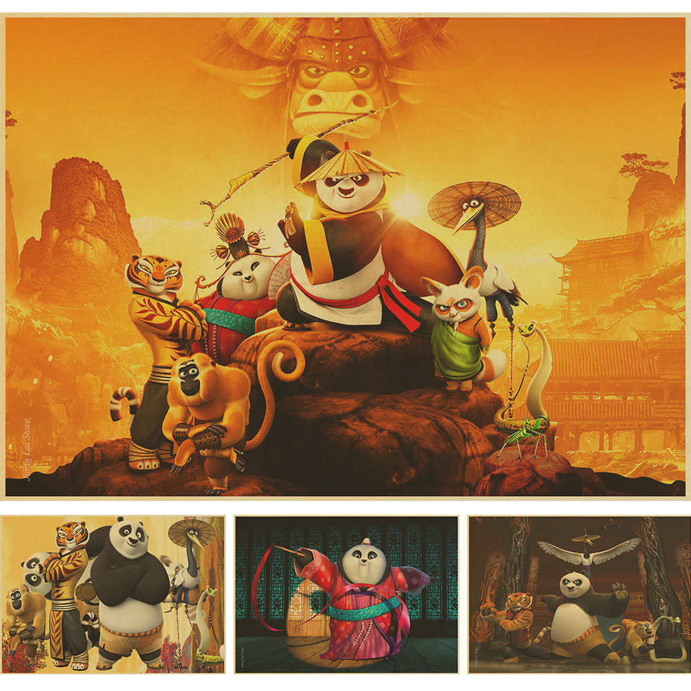 kung fu posters promotion shop for promotional kung fu posters on custom kung fu panda 3 retro poster home decor poster print creative mural art wallpaper