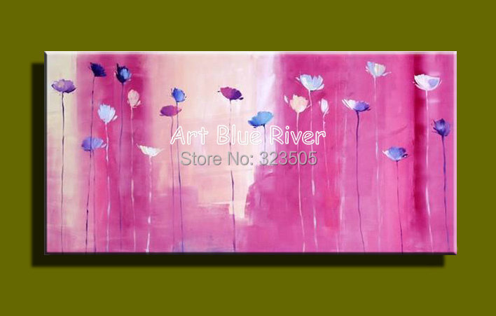 Big size pink floral Abstract modern wall art canvas handmade oil painting on canvas sofa bedroom living room decoration