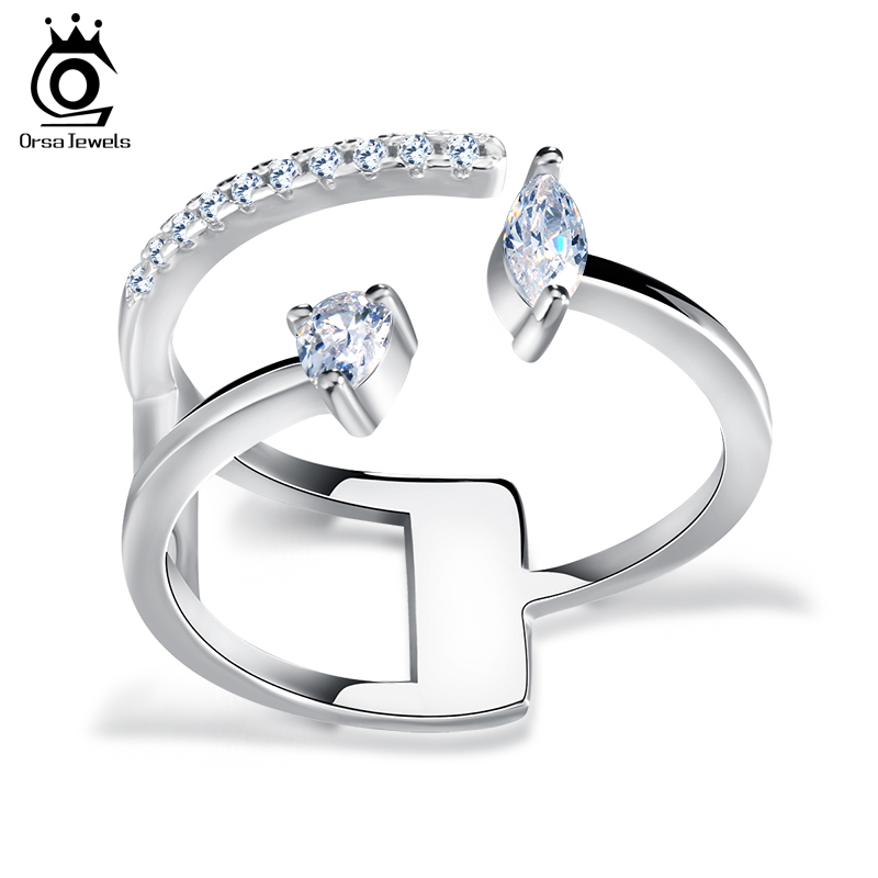 ORSA JEWELS Popular Girls' Finger Adjustable Ring with Brilliant AAA Austrian CZ Silver Color Rings Cute Christmas Gift OR115