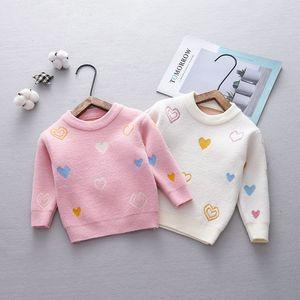 Image 2 - Autumn Baby Kids Loving Heart Print Long Sleeve Knitwear Sweater Children Girls Velvet Pullover Jumpers