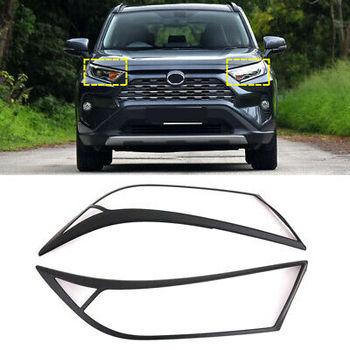 ABS Matte Black Front Head Light Lamp Cover Trim 2pcs For Toyota RAV4 2019-2020