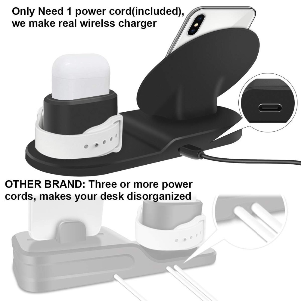 Wireless Charger Stand for iPhone AirPods Apple Watch, Charge Dock Station Charger for Apple Watch Series 4/3/2/1 iPhone X 8 XS 10