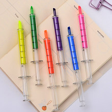 6 pcs/lot Creative Syringe Watercolor Highlighter Pen Cute Korea Stationery Marker Pen Gift for Kids School Office Supplies(China)