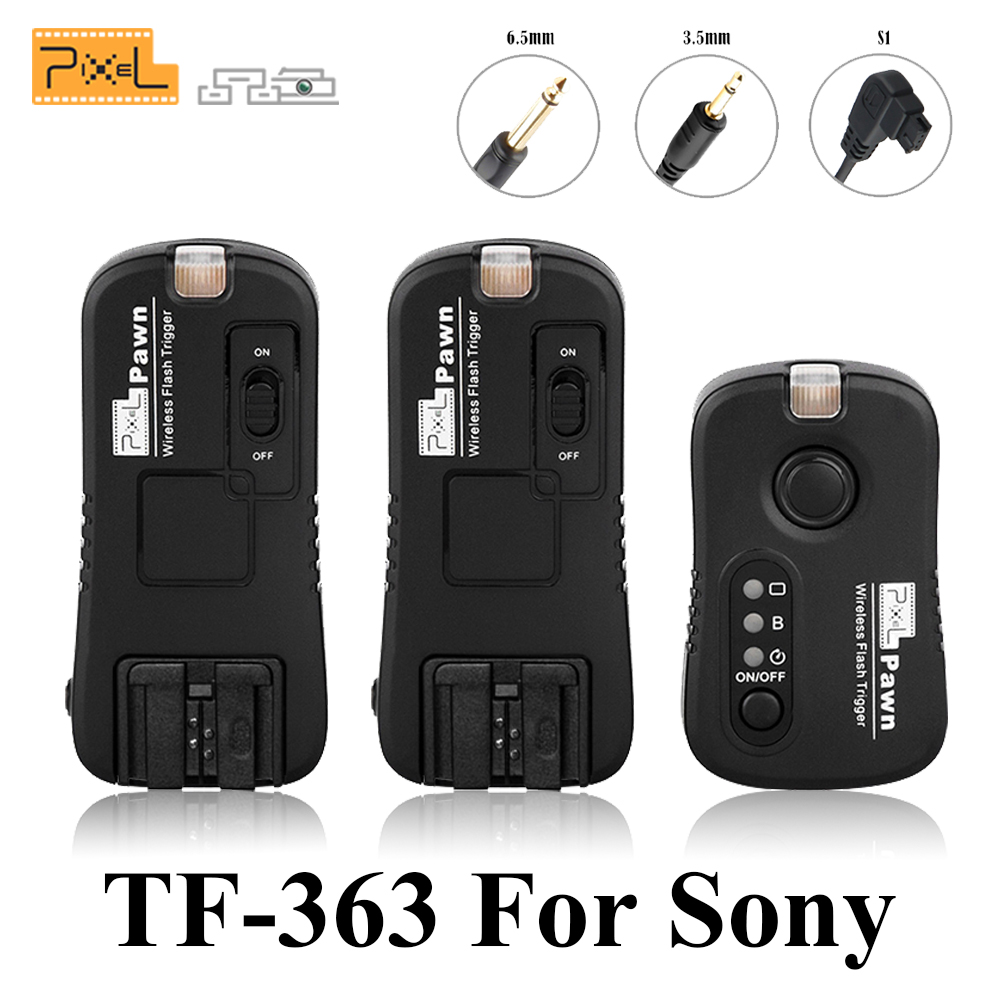Pixel TF-363 Wireless Remote Control Shutter Release Flash Trigger 1 X Transmitter & 2 X Receivers For Sony A33 A55 A57 A77 все цены