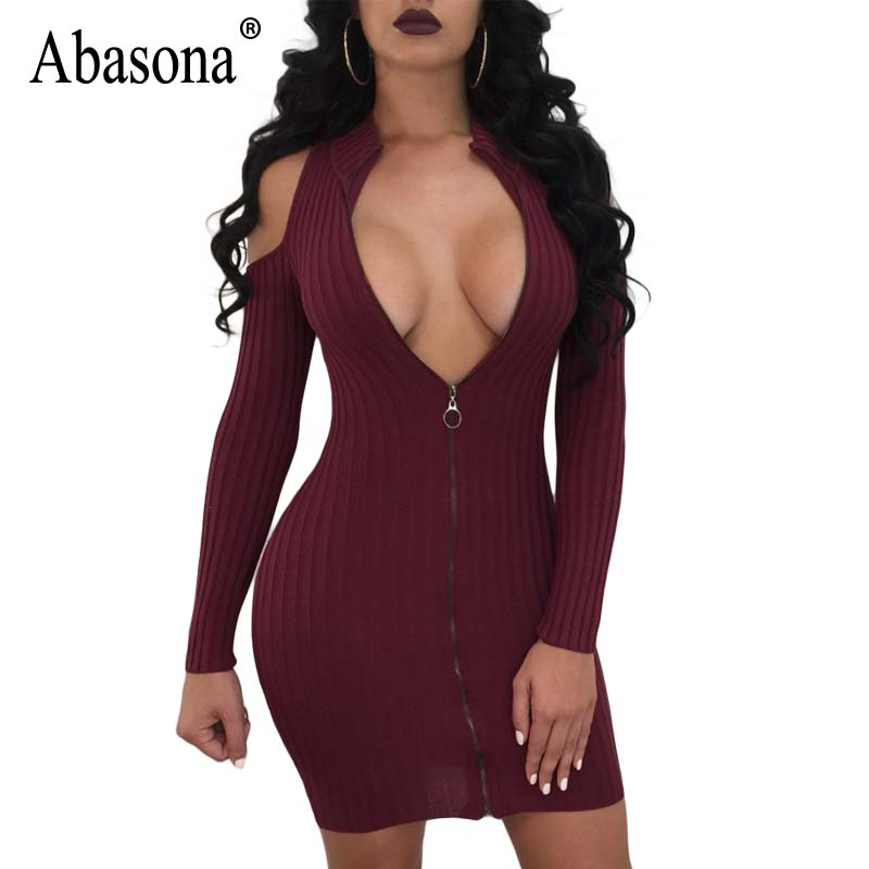 Abasona Women Dresses Autumn Winter Cold Shoulder Bodycon Pencil Dress Front Zipper Ribbed Knitted Party Club Dress Robe Femme
