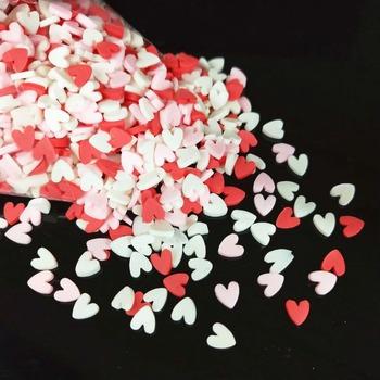 1000 sztuk partia 5mm polimeru gorąca glina Sprinkles kolorowe serce dla DIY rzemiosło małe urocze akcesoria tanie i dobre opinie Clay Heart 1-1 5mm 1000pcs lot 4mm*5mm