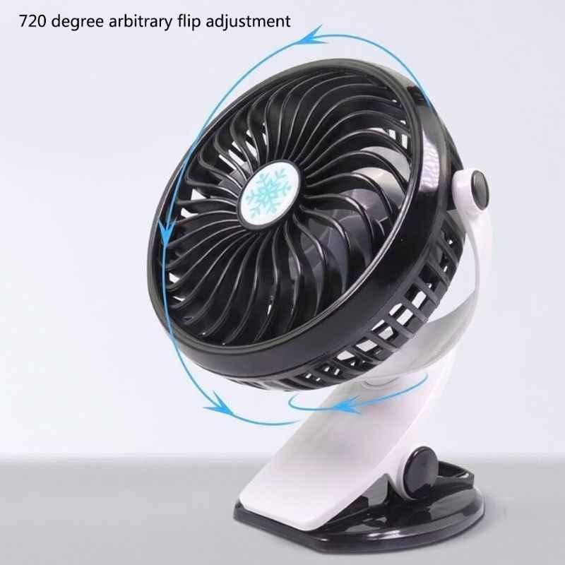 Clip de ventilador de Camping portátil de 360 ° en Mini ventilador de escritorio cuna coche de oficina al aire libre
