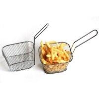 Mini friteuses françaises panier filet maille frites puce outil de cuisine acier inoxydable friteuse maison Mini frites paniers crépine 3