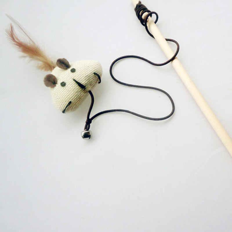 40cm chat de compagnie Teaser jouets plume lin baguette chat receveur Teaser bâton chat interactif jouets bois tige souris jouet avec Mini cloche