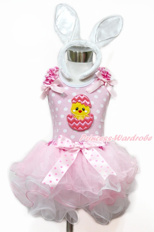ФОТО Easter Pink Dots Tank Top With Pink Bow & Chick Egg & Pink Dots Waist Pink White Petal Pettiskir tWhite Rabbit Headband MAMH185