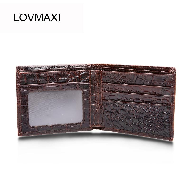 LOVMAXI Vintage 100% -os valódi bőr pénztárcák férfi okozati kávés pénztárcák Krokodil mintás pénztárcák Férfi rövid pénztárcák