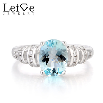 Leige Jewelry Wedding Ring Natural Aquamarine Ring March Birthstone Oval Cut Blue Gemstone 925 Sterling Silver Rings for Women