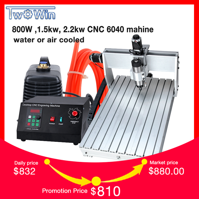 800W ,1.5kw, 2.2kw  CNC 6040 Three-axis CNC Router Engraver Engraving Milling Drilling Cutting Machine +Control box