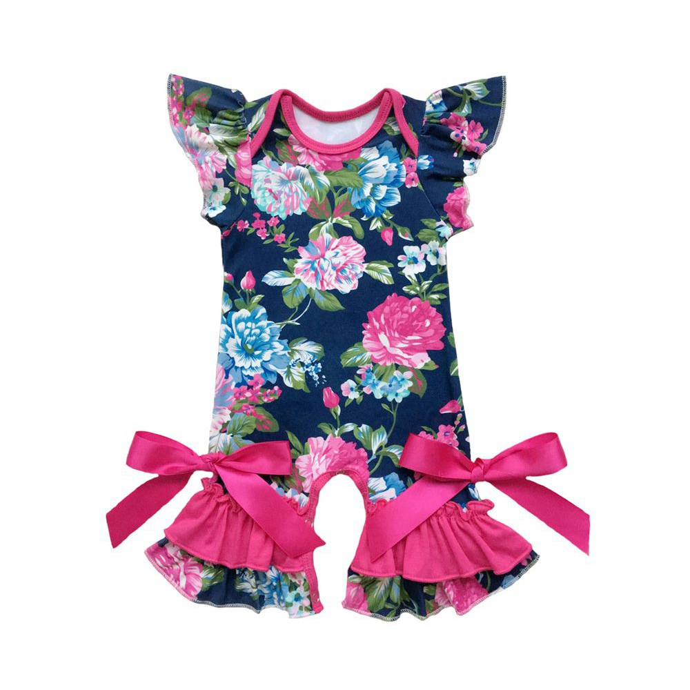 Spring Summer baby clothes romper floral baby gowns with ruffle flutter sleeve capris 4th of july leg romper
