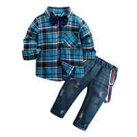 2019 fashion Boys new Autumn Suits baby Long Sleeve Plaid Top Jeans Kids sets 2pcs toddler boys clothing