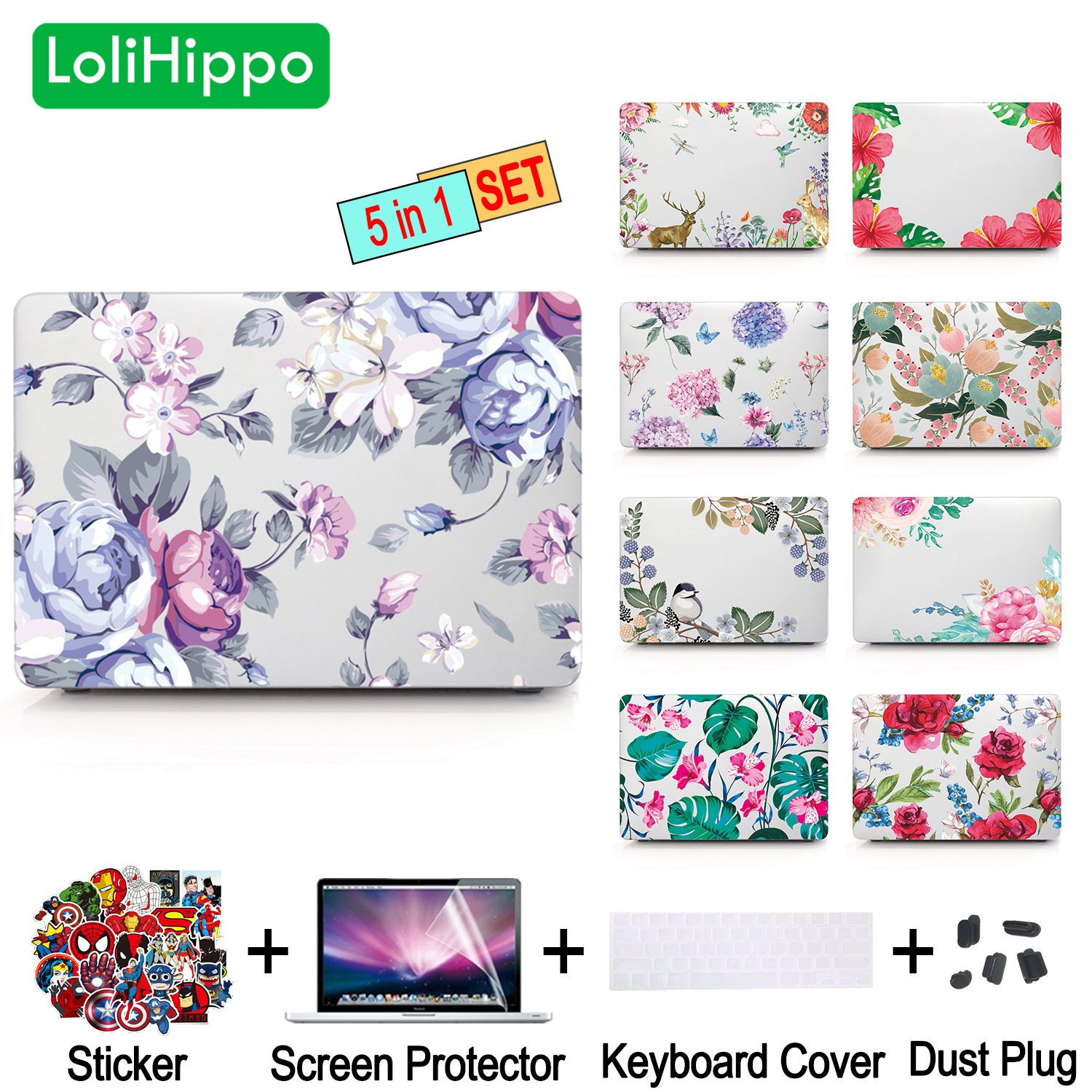 LoliHippo Flower Series Laptop Protective Case for Macbook New Air Pro 11 12 13.3 15 Inch Notebook Replace Cover A1706 A1989